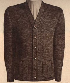 1947-1948 It became popular for men to wear  cardigan sweaters like this one with suits for outerwear. (Kalise W.)