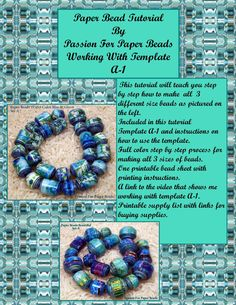 Paper Bead Tutorial A1 by PassionForPaperBeads on Etsy, $14.99