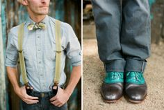 Sweet Teal shoes for the groom, great casual wedding style! Casual Wedding, Wedding Men, Wedding Suits, Wedding Attire, Wedding Trends, Wedding Ideas, Rustic Wedding, Modern Mens Fashion, Groom Style