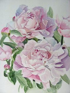 Delicate Peony by Karen Park on ARTwanted Peony Painting, Silk Painting, Watercolour Painting, Watercolors, Watercolor Rose, Watercolor Cards, Art Floral, Botanical Art, Flower Art