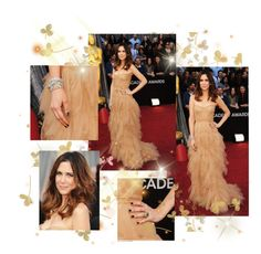 """Kristen Wiig at Oscars 2012"" by farrahdyna ❤ liked on Polyvore featuring marigold"