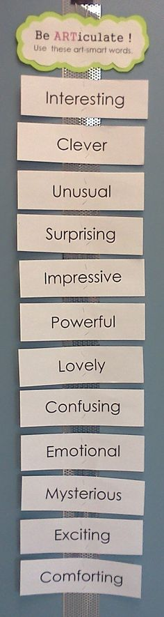 """""""Be ARTiculate!"""" Use these art-smart words. (talk to ELA about what vocab they're going over)"""