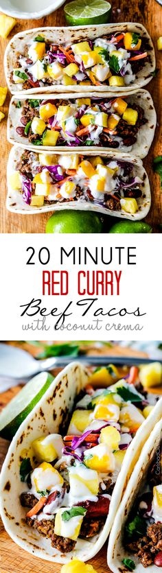 20 Minute Red Curry Beef Tacos with Coconut Crema - Bursting with flavor and couldn't be any easier!