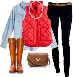 Preppy, the red vest adds a nice bold look to the outfit! Preppy Outfits, Preppy Style, Style Me, Cute Outfits, Preppy Fall, Preppy Casual, Vest Outfits, Casual Chic, Casual Wear