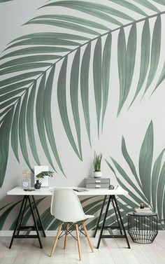 Create a cool minimalist style that's bang on trend with this fresh tropical palm leaves wallpaper, a contemporary mural. Palm Tree Wallpaper Mural, Green Wallpaper, Home Wallpaper, Print Wallpaper, Living Room Decor, Bedroom Decor, Wall Decor, Bedroom Sets, Creation Deco