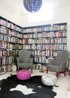 Good idea of what our room will look like with two walls lined with shelves.