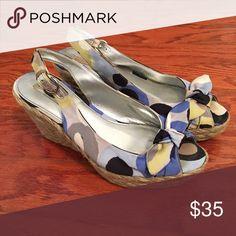 Bandolino Espadrilles Bandolino peep toe espadrilles, satin fabric upper. Like new. Bandolino Shoes Espadrilles