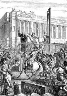 Una ilustración grabada con la ejecución en la guillotina del rey Luis XVI durante la Revolución Francesa en un libro victoriano de fecha 1883, aprox.