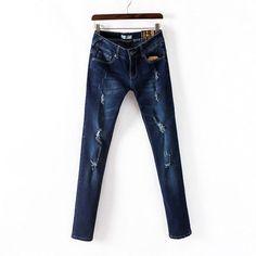 New winter women's jeans Slim frayed pants feet brand new fashion woman pencil pants denim pant skinny sexy