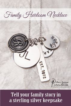 This family heirloom necklace keeps what is most dear to your heart, close to your heart. The wax seal initial celebrates your family's last name, the large charm commemorates your sweetheart and your initials with the established charm sharing the year your family was created, and those smaller charms are stamped with the names of all those cute kids of yours. And the best part? This mother's necklace is all handmade.