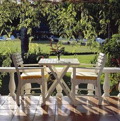 Dine outdoors on your private verandah overlooking the lush grounds at Jamaica Inn. http://jamaicainn.com/accommodation.php