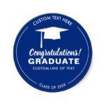 Graduation Class 2018 Grad Cap Your Color Custom Classic Round...