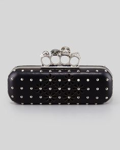 New most wanted Studded Long Knuckle Box Clutch with Daisy Cutouts. Alexander McQueen