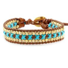 Neon Blue Single Wrap Bracelet on Natural Brown Leather