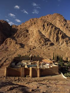 Aerial View over St. Catherines Monastery, Mt. Sinai - Egypt.  This is where the actual burning bush is and we got to touch it.