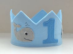 Whale Birthday Crown Felt Crown Birthday Boy by pixieandpenelope