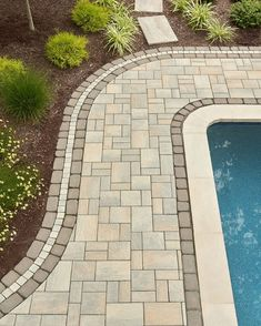 Greet your guests the right way with a walkway design that expresses your unique style. Lay down a classic and timeless walkway with traditional landscape stones or get creative and design a standout walkway that will leave your guests talking about it well after they've left your backyard. Pool Pavers, Backyard Walkway, Backyard Pool Designs, Backyard Landscaping, Landscaping Ideas, Inground Pool Designs, Patio Design, Backyard Ideas, Landscaping Around Pool