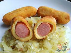 Párky v bramborovém kabátku Sausage, Food And Drink, Pizza, Meat, Recipes, Hampers, Food, Easy Meals, Sausages