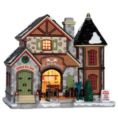 Lemax The Red Moose Bar. SKU# 65093. Released in 2016 as a porcelain lighted building for the Vail Village Collection.