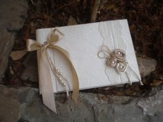 Elegant guest book ivory silk very chic bridal by CraftStories