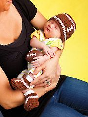 His & Hers Crochet Football Hat & Booties - Electronic Download