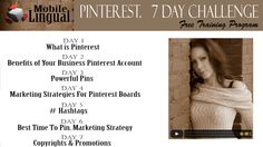 Sign up for Training program: #PINTEREST 7 Day Challenge when you will learn everything you need to know about Pinterest Marketing. How to grow your business and Pinterest and make profit with it. SIGN UP here for FREE!!! limited time only
