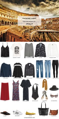 What to Pack for one month in Italy Packing Light List #packinglist #packinglight #travellight #travel #livelovesara
