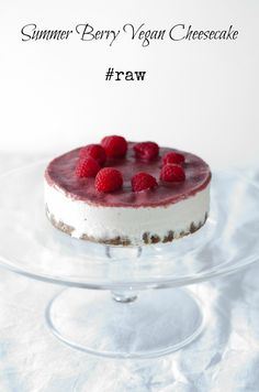 A summer berry vegan cheesecake. Apricot, walnut and cacao nibs in the base. Cashew and coconut cream fillling and a raw chia and berry jam on top