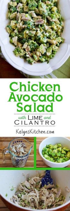 Low-Carb and Gluten-Free Chicken and Avocado Salad with Lime and Cilantro makes a perfect lunch any time of year. This salad is also Paleo if you use approved mayo. [found on KalynsKitchen.com]