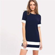Stagioni Fashion for Women, Dresses for Women. Item: Color Block Stripe Short Sleeve Shift Dress for Women Woman Outfits, Dress Outfits, Dress Clothes, Mode Ab 50, Fashion Clothes, Fashion Dresses, Trendy Clothing, Mango Clothing, Natural Clothing