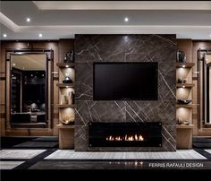contemporary infusion of slab grigio marble, bronze and a taste of caramel cappuccino flavour. Makes traditional sexy again. Fireplace Tv Wall, Fireplace Design, Wall Tv, Interior Design Living Room, Modern Interior, Living Room Designs, Living Room Tv, Living Room With Fireplace, Tv Wall Design