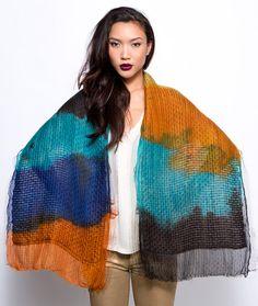 Hand dyed scarf, Silk and wool shawl, Colorful scarf, Designer scarf, Wrap scarf, Orange, Blue, Black, Tourquoise, Original by Dikla Levsky