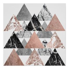 Marble Rose Gold Silver and Floral Geo Triangles Poster