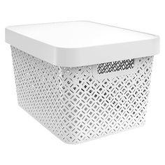 Decorative Large Bin - White - Room Essentials™ : Target