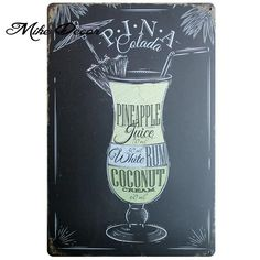 "CLASSIC BEVERAGE Tin Metal Posters; 25 Styles to Choose; 7.87""x 11.81"""