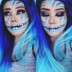 21 Easy DIY Halloween Makeup Looks Halloween make up Cheshire Cat Makeup, Cheshire Cat Halloween, Cat Halloween Makeup, Chesire Cat, Purple Halloween, Halloween Makeup Looks, Halloween Make Up, Cheshire Cat Face Paint, Diy Cheshire Cat Costume