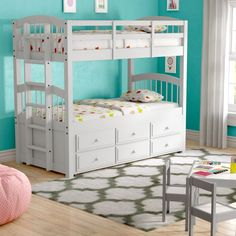 Babyboy Twin Bunk Bed with Trundle and 3 Drawer