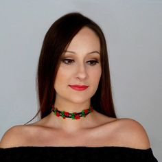 Black Embroidered Red Rose Fabric Choker Necklace Bohemian