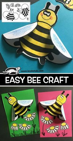 ideas toys paper activities for 2019 Bee Crafts For Kids, Toddler Crafts, Art For Kids, Spring Activities, Craft Activities, Preschool Crafts, Children Activities, Insect Crafts, Bug Crafts