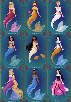 Disney Princesses as Mermaids!
