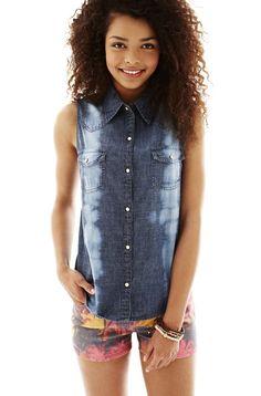 arizona denim shirt and printed shorts