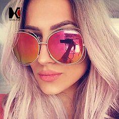 7fa04b65c SHAUNA Fashion Oversize Oval Wire Women Sunglasses Brand Designer Big Alloy  Frame Mirror Lens Sun Glasses UV400-in Sunglasses from Women's Clothing ...