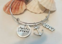 Anchors Away Silver Bangle Bracelet Beach by SoutherncharmedStore