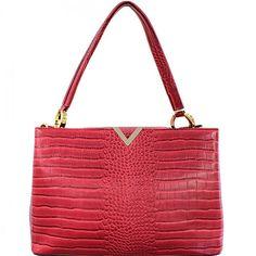 Croc Style Handbag with Goldtone Hardware – Handbag Addict.com