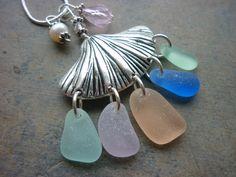 Sea Glass Necklace Pink  - Seashell Aqua  Beach Seaglass Shell. $38.00, via Etsy.