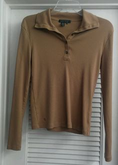 Lauren RALPH LAUREN Long Sleeve Shirt Polo Collar Cotton Beige Button Top Warm M #LaurenRalphLauren #PoloShirt #Casual