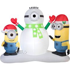 798.00$  Buy now - http://alidv7.worldwells.pw/go.php?t=32747016222 - X144 Free shipping Giant airblown christmas inflatable minion one eye double eyes with santa hat for holiday decoration 798.00$