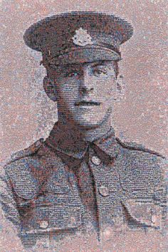 A digital mosaic of photograph of British Army private James Ernest Beany, killed in France in 1916 during the first world war. The portrait was created by artist Helen Marshall as people pay their respects to the fallen.