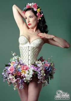 Floral skirted corset