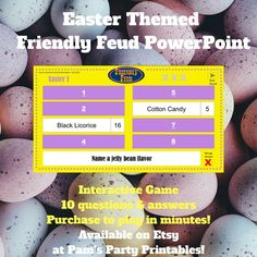 Easter Friendly Feud Game available on Etsy at Pam\'s Party Printables. #etsy #etsyshop #etsystore #estyseller #etsysellersofinstagram #easter #spring #eastergame #printables #printablegames #party #easterparty #springparty #partyplanner #partyplanning #kidsparty #classroomparty #youthgroupgame #youthgroup #roommom #partyideas #Familyfeud #familyfriendly #powerpoint #interactive